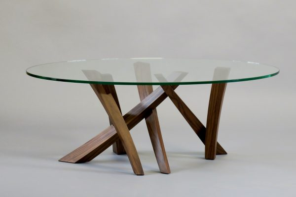 Laguna low table - walnut, glass