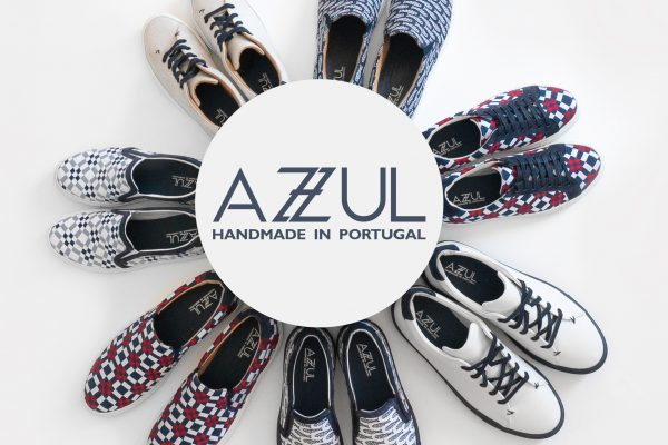 Azzul Logo with Athleisure Shoes surrounding it