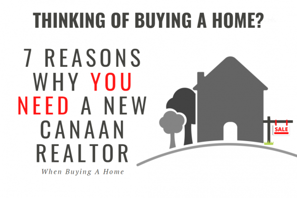 "cover image which says ""Thinking of Buying a Home? 7 Reasons Why You Need A New Canaan Realtor when buying a home"" with drawing of a home for sale"